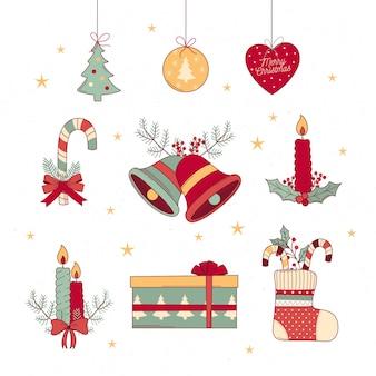 Conjunto de decoración navideña dibujada a mano