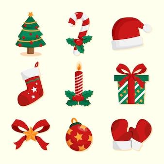 Conjunto de decoración navideña de diseño plano