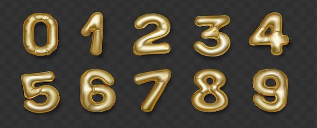 Conjunto de decoración de números de globo de lámina de oro realista
