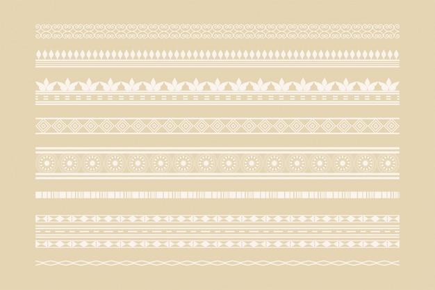 Conjunto de decoración de página y bordes étnicos clásicos