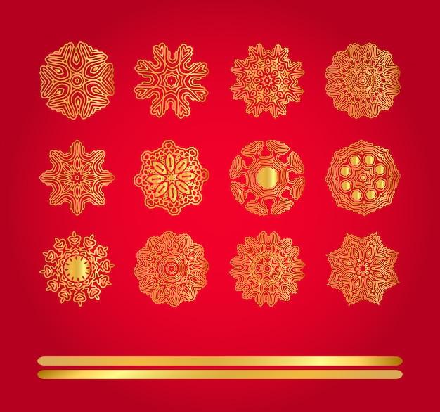 Conjunto de la decoración del vector de la navidad del copo de nieve.