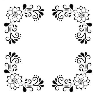 Conjunto de decoraciones florales mehndi