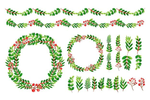 Conjunto de decoraciones navideñas de acuarela