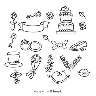 Conjunto decorativo de adornos de boda dibujados a mano