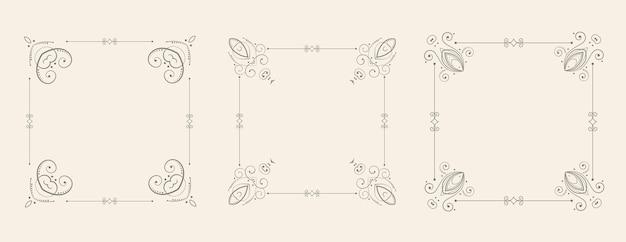 Conjunto decorativo de bordes de marco floral estilo boda