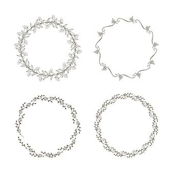 Conjunto decorativo coronas florales.