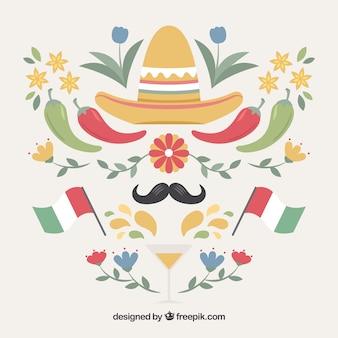 Conjunto decorativo de elementos de mexico