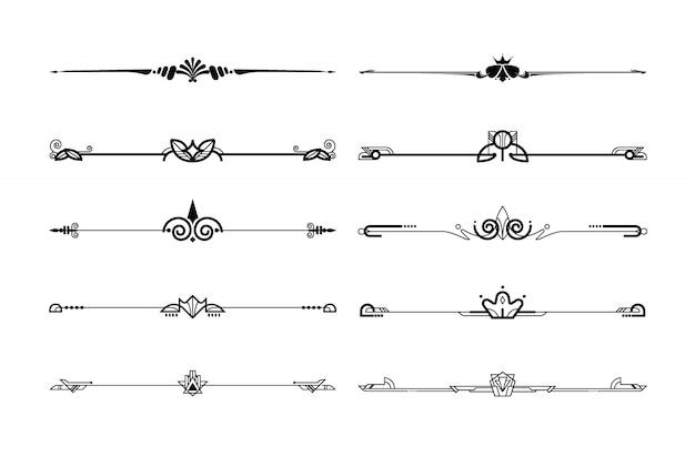 Conjunto decorativo ornamental de bordes y separadores