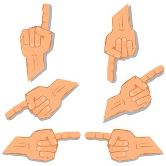 Conjunto del dedo índice. vector de dibujos animados signos conjunto aislado en blanco