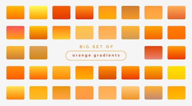 Conjunto de degradados de color naranja brillante y amarillo.