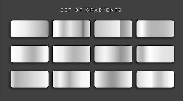 Conjunto de degradados gris metálico gilver conjunto ilustración vectorial