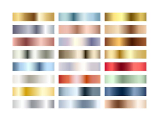 Conjunto de degradados de metal cromado. muestras metálicas de oro rosa, bronce, plata, rojo, azul y dorado.