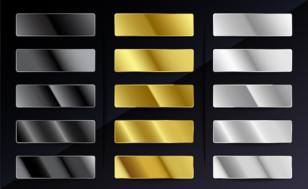 Conjunto de degradados metálicos de acero plateado