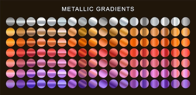 Conjunto de degradados metálicos coloridos.