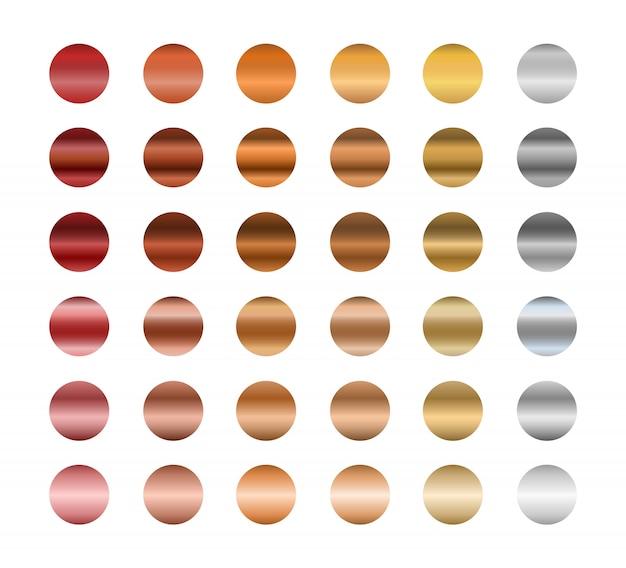 Conjunto de degradados metálicos, oro, plata y bronce. colección de colores degradados.