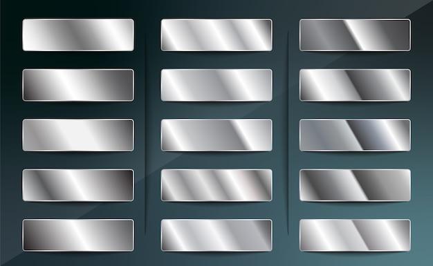 Conjunto de degradados metálicos de plata, acero, cromo, platino o aluminio