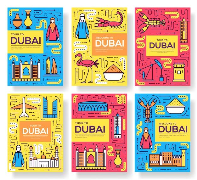 Conjunto de delgada línea de tarjetas de folleto de dubai. plantilla de viaje de país de flyear, portada de libro, pancartas.