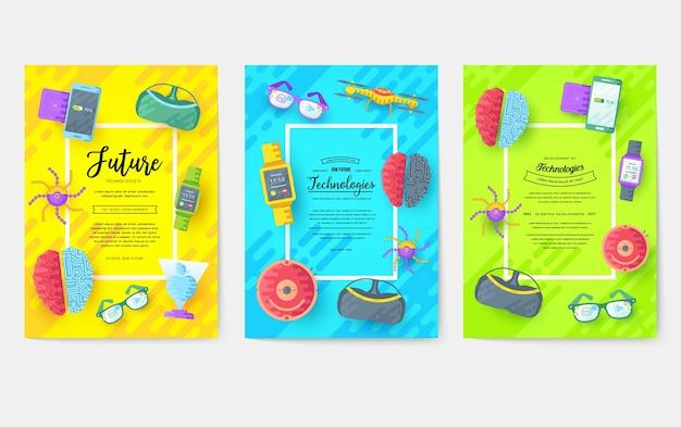 Conjunto de delgada línea de tarjetas de folleto de tecnología. plantilla de automatización de flyear, revistas, carteles.