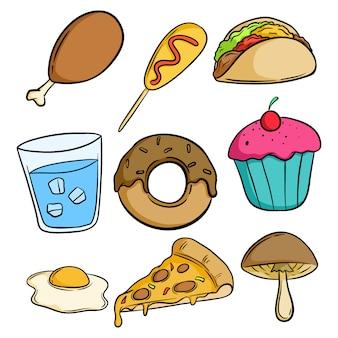 Conjunto de deliciosa comida chatarra con estilo doodle o dibujado a mano