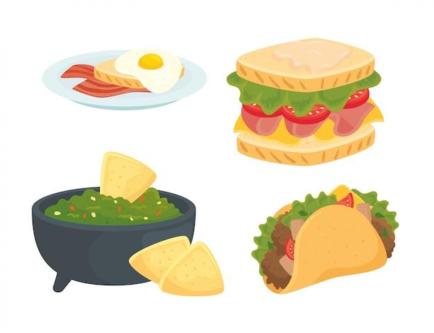 Conjunto de deliciosa comida rápida
