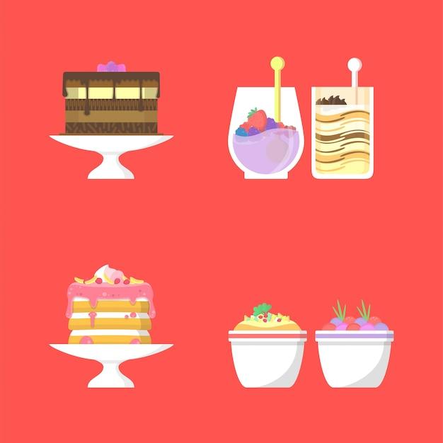 Conjunto de deliciosa ilustración de comida y bebida
