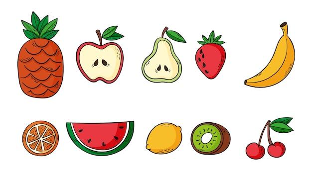 Conjunto de deliciosas frutas dibujadas a mano