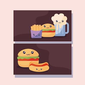 Conjunto de deliciosas hamburguesas y comida rápida kawaii carácter