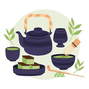 Conjunto de delicioso té japonés