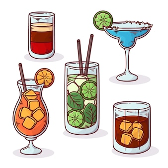 Conjunto de deliciosos cócteles dibujados a mano