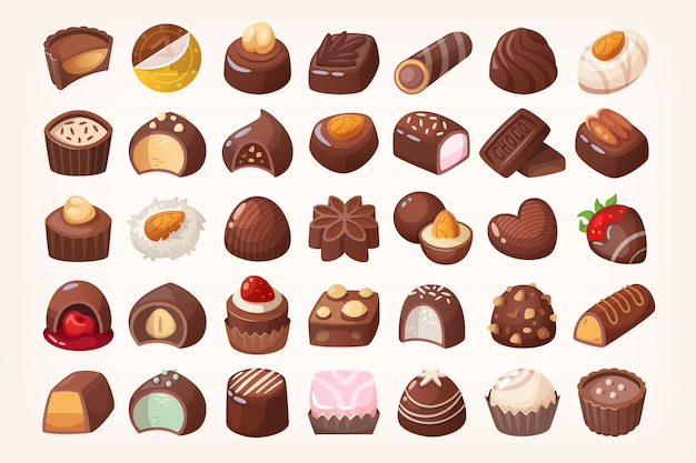 Conjunto de deliciosos dulces de chocolate