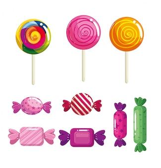 Conjunto de deliciosos dulces dulces