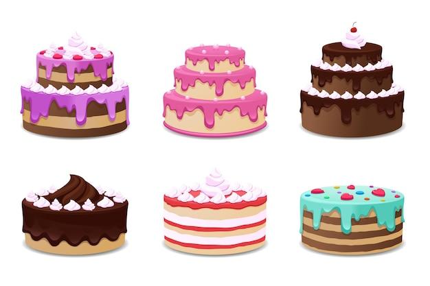 Conjunto de deliciosos pasteles