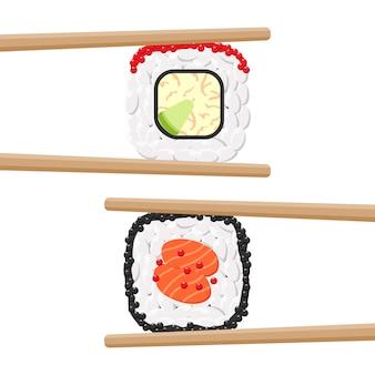 Conjunto de deliciosos rollos de sushi de colores con palillos