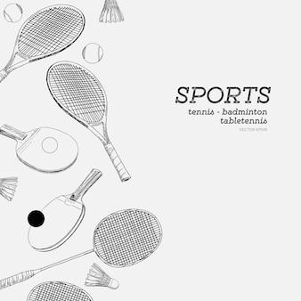 Conjunto de deportes mano dibujar dibujo vectorial. bádminton, tenis y tenis de mesa, vector de deportes.