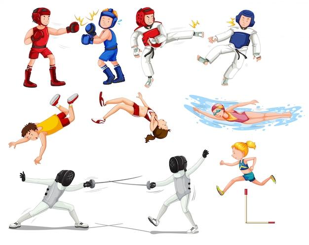 Conjunto de deportistas deportivos.