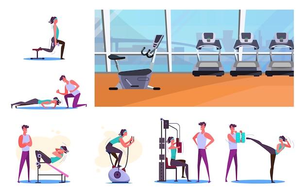 Conjunto de deportistas entrenando en el gimnasio