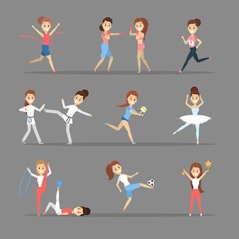 Conjunto de deportistas. personas que practican diferentes tipos de deportes: jugar baloncesto, boxeo, correr y ganar la competición. gimnasia y ballet. ilustración vectorial plana