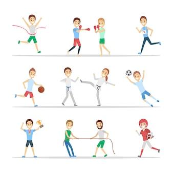Conjunto de deportistas. personas que practican diferentes tipos de deportes: jugar baloncesto, boxeo, correr y ganar la competición. ilustración vectorial plana