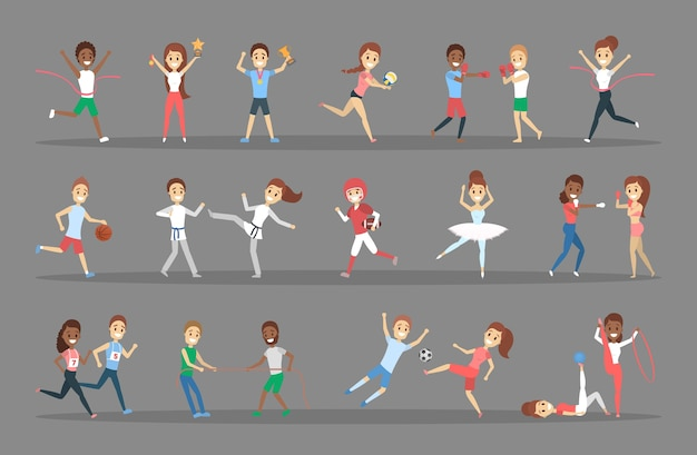 Conjunto de deportistas. personas que practican diferentes tipos de deportes: jugar baloncesto, hacer gimnasia, correr y ganar la competición. ilustración vectorial plana