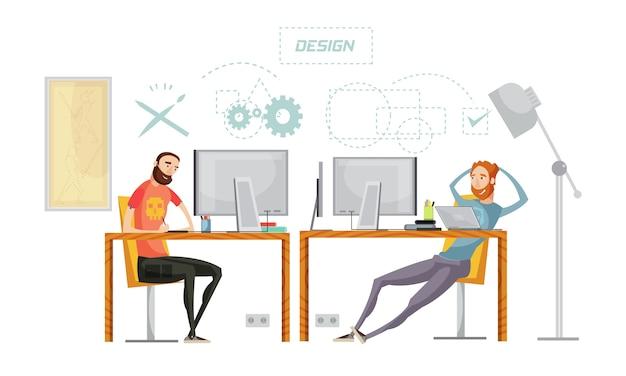 El conjunto de desarrollo de juegos de personajes planos en la mesa en el interior de la oficina con signos de pensamiento conceptual vector ilustración