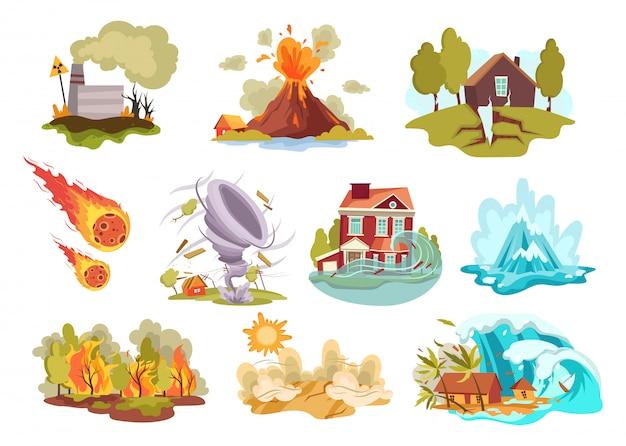 Conjunto de desastres naturales de dibujos animados. colección de cataclismos erupción volcánica y avalancha de nieve e inundaciones.