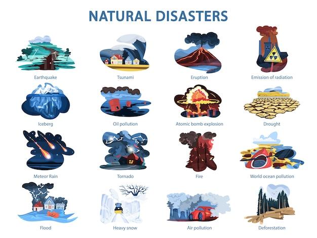 Conjunto de desastres naturales. terremoto e inundación, bosque en llamas