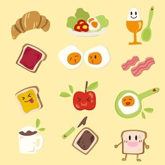 Conjunto de desayuno lindo. dibujar a mano ilustración.