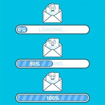 Conjunto de descargadores de vectores con correo electrónico personaje de dibujos animados y carga de texto.