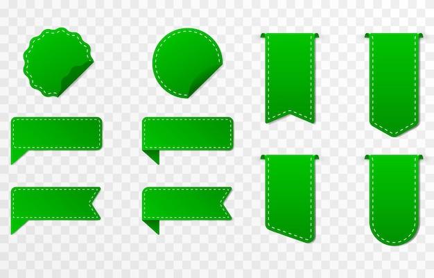 Conjunto de descuentos de etiquetas de precio de cintas verdes
