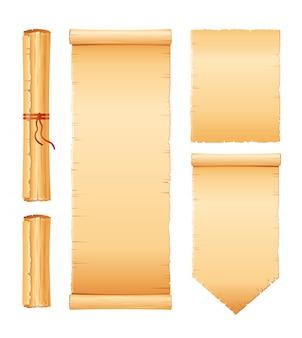 Conjunto de desplazamiento de papiro, papel pergamino con textura antigua. rollo vintage con asas de madera.