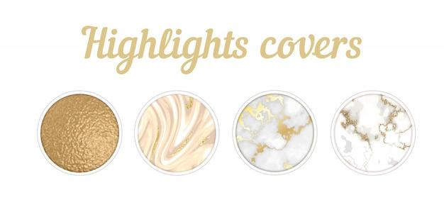 Conjunto destacado de la cubierta de instagram, fondo de textura de mármol mínima