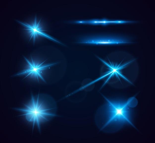 Conjunto de destellos brillantes y destellos de lente luces brillantes aisladas sobre fondo transparente vector ill ...