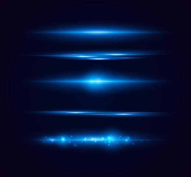 Conjunto de destellos brillantes y destellos de lente luces brillantes aisladas sobre fondo transparente
