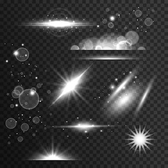 Conjunto de destellos, efecto de luz y destello de lente en estilo transparente